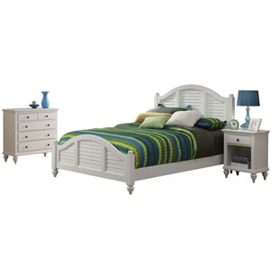 Bermuda Brushed White King Bed, Night Stand and Chest