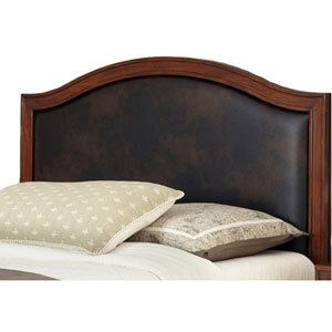 Duet Queen Camelback Headboard Brown Leather Inset