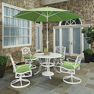 Biscayne White Round 7 Piece Outdoor Dining Table, 4 Swivel Rocking Chairs with Cushions and Umbrella with Base