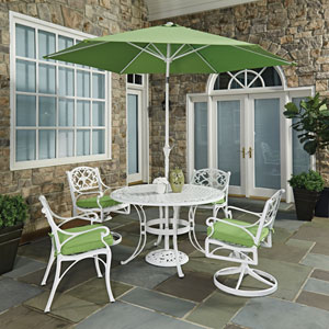 Biscayne White Round 7 Piece Outdoor Dining Table, 2 Arm Chairs, 2 Swivel Rocking Chairs