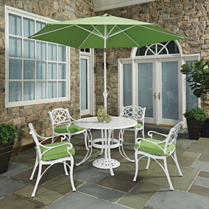 Biscayne White Round 7 Piece Outdoor Dining Table, 4 Arm Chairs with Cushions and Umbrella with Base