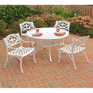 Biscayne White 42-Inch Table w/ Four Green Cushioned Arm Chairs