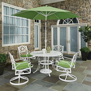 Biscayne White Round 7 Piece Outdoor Dining Table, 4 Swivel Rocking Chairs  With Cushions And
