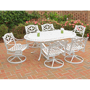 Biscayne White 72-Inch Oval Table w/ Six Swivel Chairs