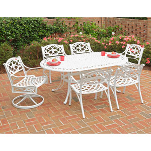 Biscayne White 72-Inch Oval Table w/ Two Cushioned Swivel Chairs and Four Cushioned Arm Chairs