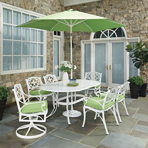 Biscayne White Oval 9 Piece Outdoor Dining Table, 4 Arm Chairs, 2 Swivel Rocking Chairs