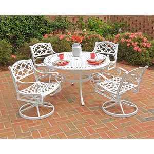 Biscayne White  48-Inch Table w/ Four Swivel Chairs