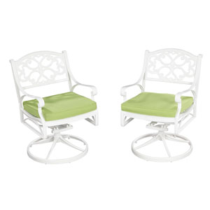 Biscayne White Swivel Chair w/ Green Cushion