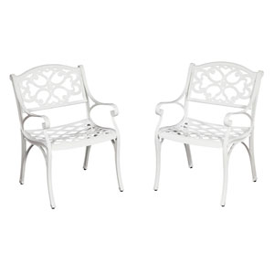 Biscayne White Arm Chair Pair