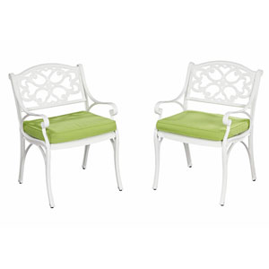 Biscayne White Arm Chair Pair w/ Green Cushions