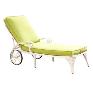 Biscayne White Chaise Lounge Chair with Green Apple Cushion