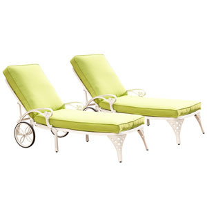 Biscayne White Chaise Lounge Chairs with Green Apple Cushions, Set of Two