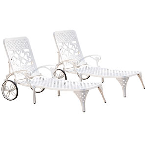 Biscayne White Chaise Lounge Chairs, Set of Two