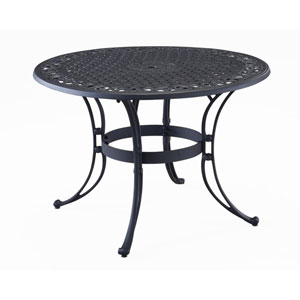 Black 42-Inch Round Outdoor Dining Table