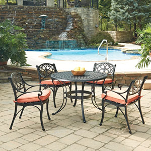 Biscayne Black Round 5 Piece Outdoor Dining Table and 4 Arm Chairs with Cushions