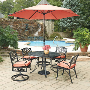 Biscayne Black Round 7 Piece Outdoor Dining Table, 2 Arm Chairs, 2 Swivel Rocking Chairs