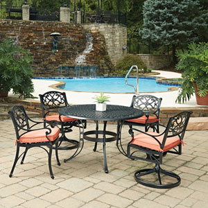 Biscayne Black Round 5 Piece Outdoor Dining Table with 2 Arm Chairs and 2 Swivel Rocking Chairs
