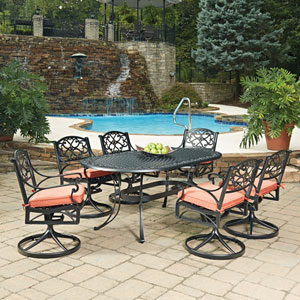 Biscayne Black Oval 7 Piece Outdoor Dining Table and 6 Swivel Rocking Chairs with Cushions