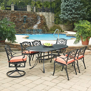 Biscayne Black Oval 7 Piece Outdoor Dining Table with 4 Arm Chairs and 2 Swivel Rocking