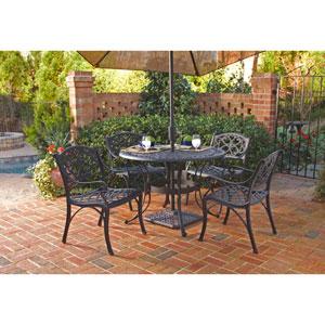 Black 42-Inch Five-Piece Round Outdoor Dining Set