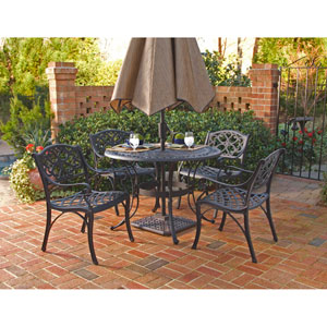 Black 48-Inch Five-Piece Round Outdoor Dining Set