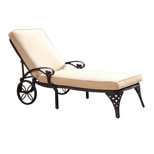 Biscayne Black Chaise Lounge Chair with Taupe Cushion