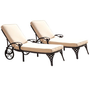 Biscayne Black Chaise Lounge Chairs with Taupe Cushions, Set of Two
