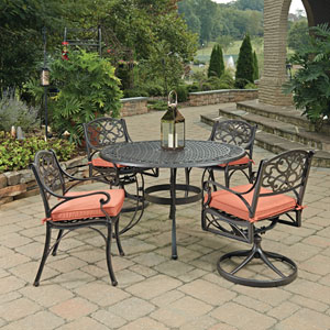 Biscayne Rust Bronze Round 5 Piece Outdoor Dining Table with 2 Arm Chairs and 2 Swivel Rocking Chairs with Cushions