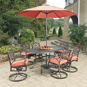 Biscayne Rust Bronze Oval 9 Piece Outdoor Dining Table, 6 Swivel Rocking Chairs with Cushions and Umbrella with Base