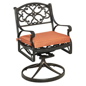 Biscayne Rust Bronze Swivel Rocker with Cushion