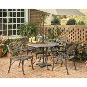 Rust Brown 42-Inch Five-Piece Round Outdoor Dining Set