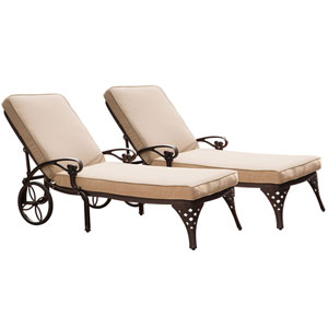 Biscayne Bronze Chaise Lounge Chairs with Taupe Cushions, Set of Two