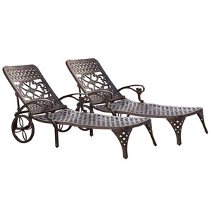 Biscayne Bronze Chaise Lounge Chairs, Set of Two