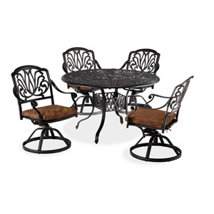 Floral Blossom Gray Five-Piece Dining Set with 42-Inch Round Table and Swivel Chairs