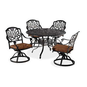 Floral Blossom Gray Five-Piece Dining Set with 48-Inch Round Table and Swivel Chairs