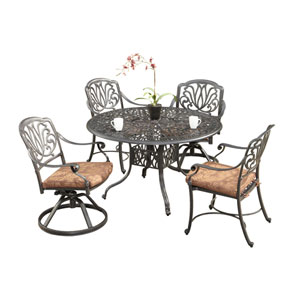 Floral Blossom Gray Five-Piece Dining Set with 48-Inch Round Table