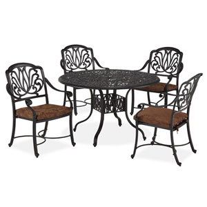 Floral Blossom Gray Five-Piece Dining Set with 48-Inch Round Table and Arm Chairs