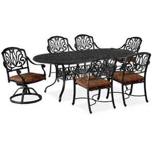Floral Blossom Gray Seven-Piece Dining Set with Oval Table