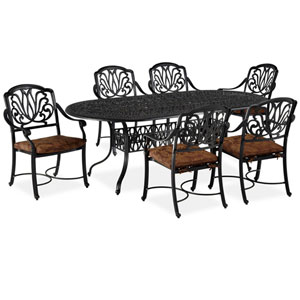 Floral Blossom Gray Seven-Piece Dining Set with Oval Table and Arm Chairs