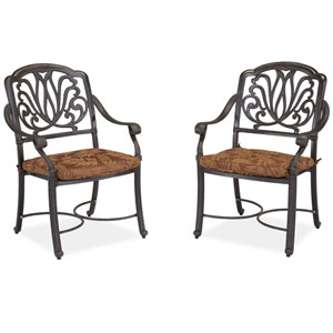 Floral Blossom Gray Arm Chairs with Cushions, Set of Two