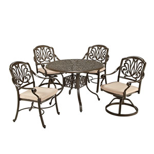 Floral Blossom Taupe Round Outdoor Table with Two Swivel Chairs and Two Arm Chairs Dining Set