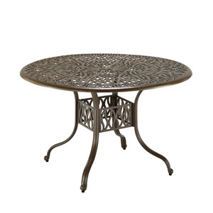 Floral Blossom Taupe Outdoor 48-Inch Round Dining Table