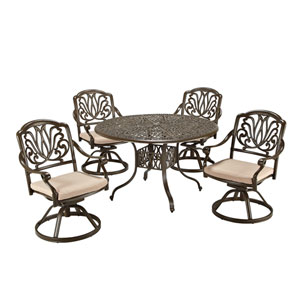 Floral Blossom Taupe Outdoor 48-Inch Round Table with Four Swivel Chairs Dining Set