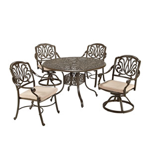 Floral Blossom Taupe Outdoor 48-Inch Oval Table with Two Swivel Chairs and Two Arm Chairs Dining Set