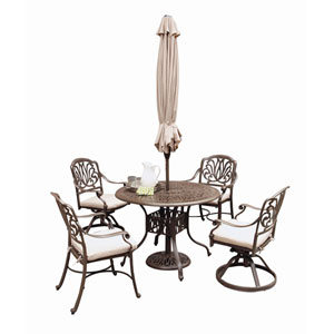 Floral Blossom Taupe Outdoor 48-Inch Round Table with Two Swivel Chairs and Two Arm Chairs Dining Set with Umbrella