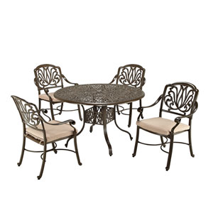 Floral Blossom Taupe Outdoor 48-Inch Round Table with Four Arm Chairs Dining Set
