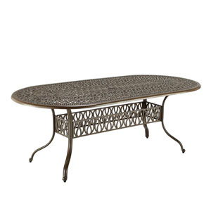 Floral Blossom Taupe Outdoor Oval Dining Table
