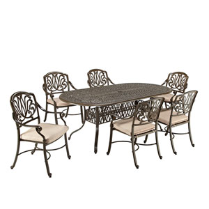 Floral Blossom Taupe Outdoor 84-Inch Oval Table and Six Chairs Dining Set