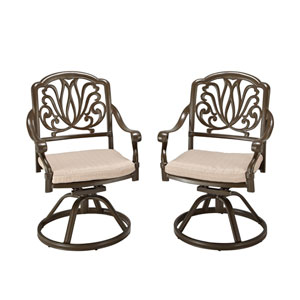 Floral Blossom Taupe Outdoor Swivel Chair