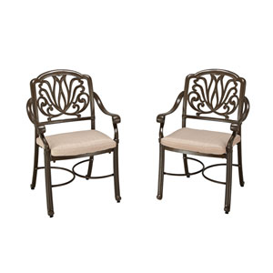 Floral Blossom Taupe Outdoor Arm Chair, Set of Two